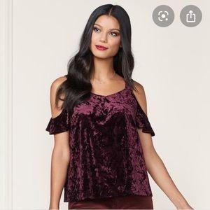 LC LAUREN CONRAD off shoulder maroon velvet blouse